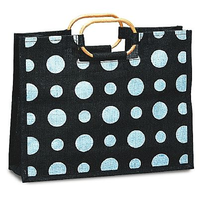Laminated with a clear poly inner liner for water resistance this bag is perfect for holding flowers or plants. With a white polka dot design and Bamboo cane handles with side/bottom gussets this bag is made from natural plant fibers.