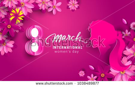 8 March. pink Floral Greeting card. International Happy Women's Day. Paper cut flower pink holiday background with space for text. Trendy Design Template. Vector illustration