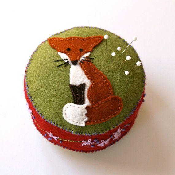 Wool felt pincushion with fox by FabricAndInk on Etsy, $28.00