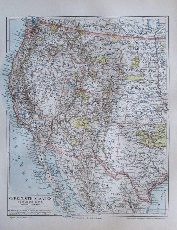 1897 Vereinigte Staaten westliches Blatt USA -  alte Karte Lithografie old map