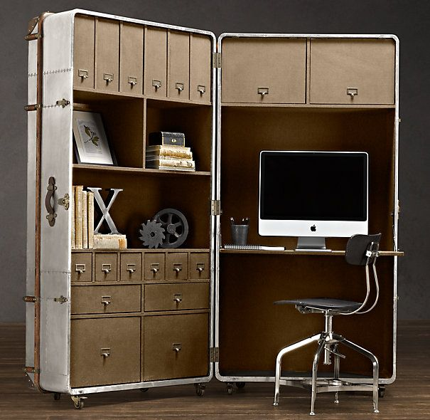 Saw this today at Restoration Hardware ~ big steamer trunk office nook.  loved it
