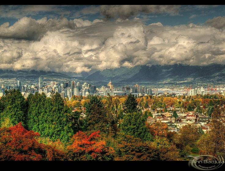 A view of Vancouver and the mountains seen from Queen Elizabeth Park, British Columbia, Canada