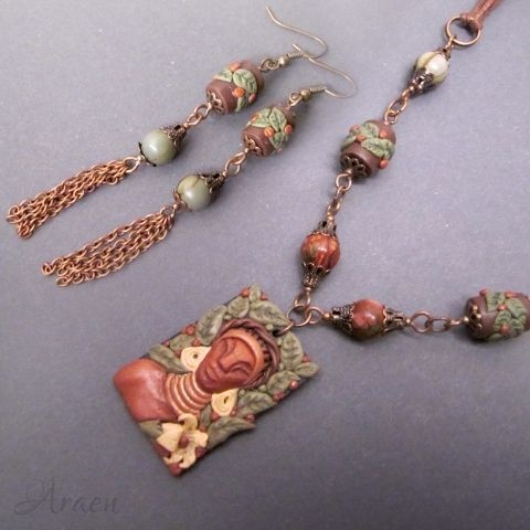 Himba - African tribal style handmade Polymer Clay necklace and earrings set with Picasso jaspers and antiqued copper.