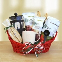 A gift basket for your coffee drinking friends. Only one thing missing, a bottle of Frangelica!