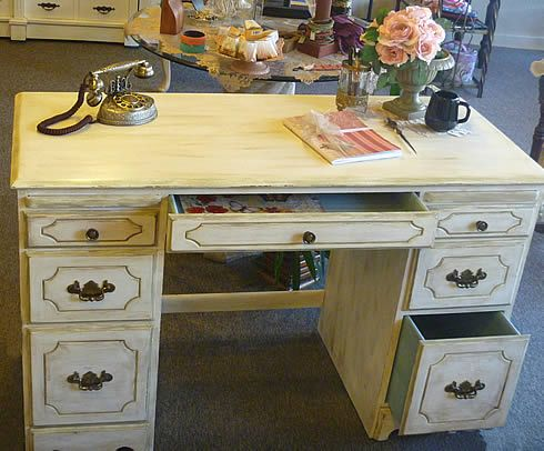 Shabby Chic Antique Desk Professionally Refinished in Chalk Paint