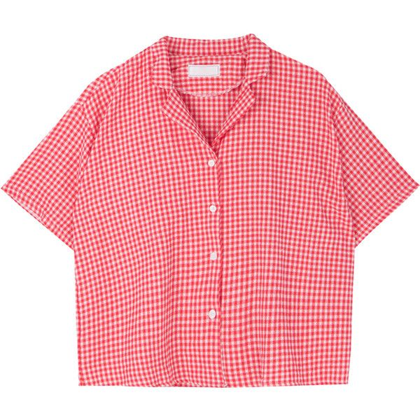 Gingham Check Notch Collar Shirt (9.075 KWD) ❤ liked on Polyvore featuring tops, sleeve shirt, bunny shirt, gingham check shirt, bunny top and red top