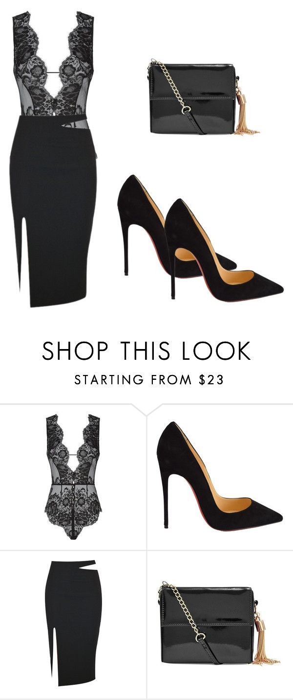 """""""Sem título #222"""" by patfonsecaa ❤ liked on Polyvore featuring Agent Provocateur, Christian Louboutin, women's clothing, women, female, woman, misses and juniors"""