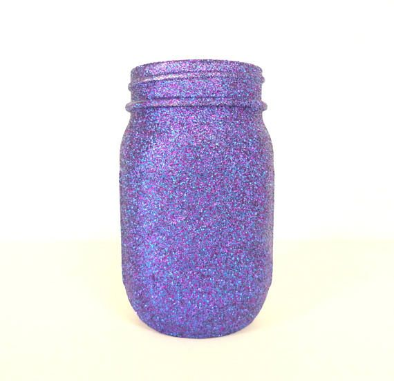 Purple and Blue Blend Glittered Pint Mason by janetwhatmandesigns