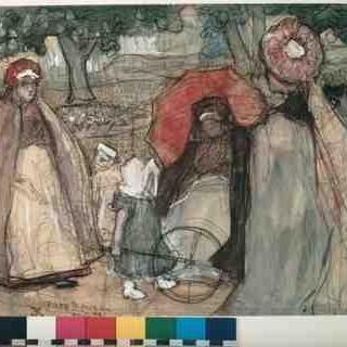 Parc Monceau in Parijs- tekening gemaakt door Edzard Koning in 1892 uit de collectie van het Haags gemeentemuseum. Meer informatie op http://gemeen.gemeentemuseum.nl/schatgraven/bijdrage/parc-monceau-door-edzard-willem-koning-winschoten-3-mei-1869-den-haag-21