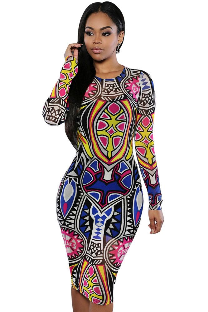 >> Click to Buy << 2017 Vintage Tribal Tattoo Print Multi Colour Long Sleeve Autumn Pencil Dress Retro Ethnic Dresses robe sexy dentelle 60942 #Affiliate