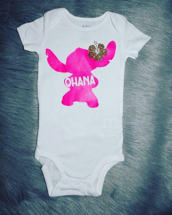 Lilo and stitch baby girl onesie ohana shirt by TutuCuteBoutiqe
