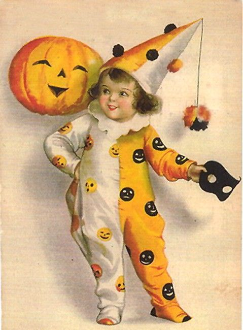 vintage halloween illustration (early 20th century ?) why are there not more 2 tone pumpkin jumpsuits ?: Vintage Postcards, Halloween Costumes, Pumpkin, Halloween Greeting, Halloween Vintage, Halloween Postcards, Vintage Halloween Cards, Vintage Cards, Vintage Style