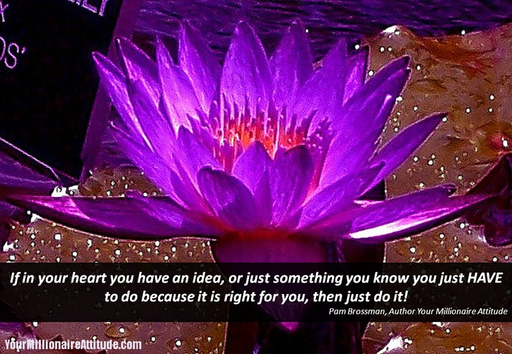 If in your heart you have an idea, or just something you know you just HAVE to do because it is right for you, then just do it!  Pam Brossman, Author https://pambrossman.com/books