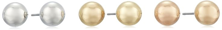 Silver, Yellow, and Rose-Tone Ball Stud Earrings Three-Piece Set (8 mm). Set featuring three pairs of ball-shape stud earrings in silver, rose, and yellow gold tones. Friction-back posts. Imported.