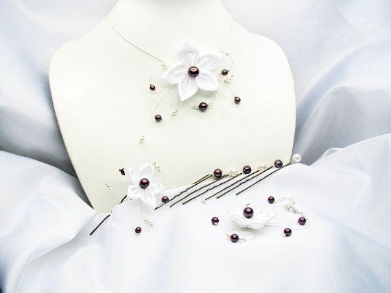 Parure mariage blanche et prune perles en cristal par murielcrea