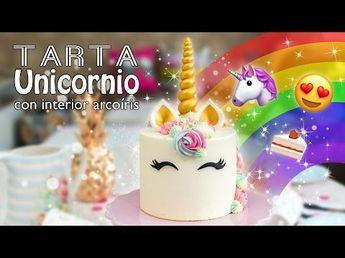 Tarta Unicornio con interior de arcoíris - Recetas de postres (y panes)