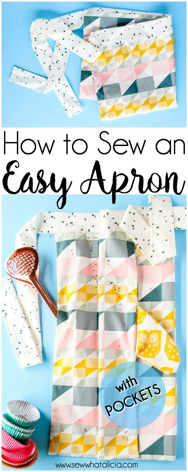 How to Sew an Apron for Beginners: This is a great sewing tutorial that is easy and perfect for beginners. Click through for the full tutorial. Plus it has pockets!!!! #sewing #beginnersewing #sewcialists #sewist #sewallthethings #sewingschool #easysewing| www.sewwhatalicia.com