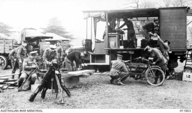 The repair shop of the 1st Australian Division, AIF, Ammunition Park at the depot the 1st Australian Motor Transport Company, Australian Army Service Corps at Romsey.