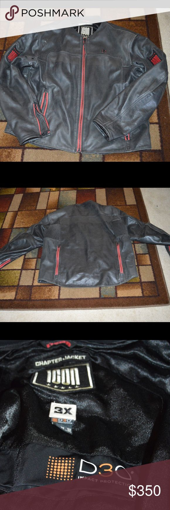 Men's ICON leather riding jacket ICON riding jacket, with D30 padding (arms and back) 6 pockets, 2 back vents in back. REALLY GOOD CONDITION! ICON Jackets & Coats