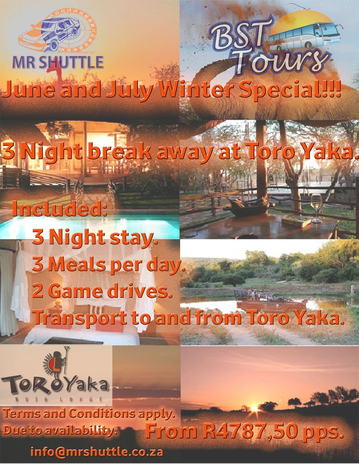 Toro Yaka Bush Lodge 3 Night breakaway winter special. Join Mr Shuttle on a Kruger Park Tour to The Balule Game Reserve in Mpumalanga, South Africa