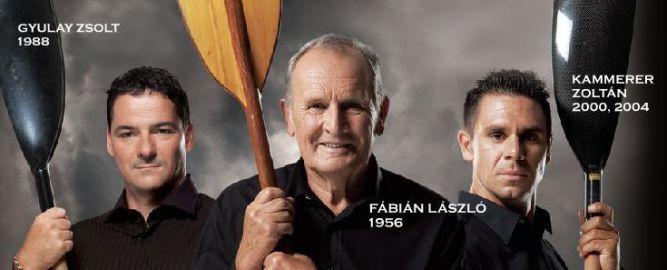 Fábián László, a kajak-kenu sport első olimpiai bajnoka, Gyulay Zsolt és Kammerer Zoltán két-, illetve háromszoros olimpiai bajnok kajakosok