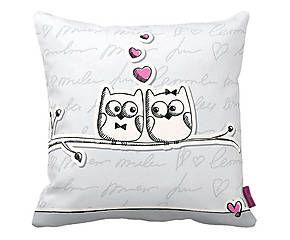 Cuscino arredo con stampa decorativa Gufi Heart - 43x43 cm