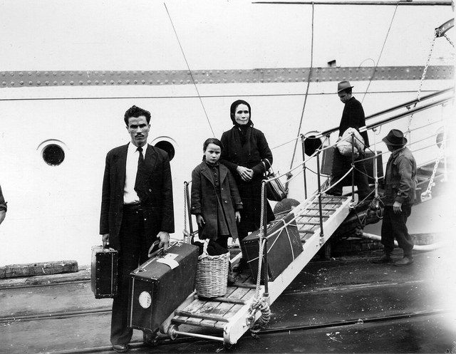 Migrants arriving at Fremantle, 1953  Mass migration after World War II saw unprecedented numbers of European migrants arriving in Fremantle, either in transit to other Australian states or to settle in Western Australia.  As the first Australian port of call for all European migrant ships, Fremantle occupies a significant place in migrant memories. After a month at sea, the first glimpse of Fremantle filled some with optimism and others with apprehension.