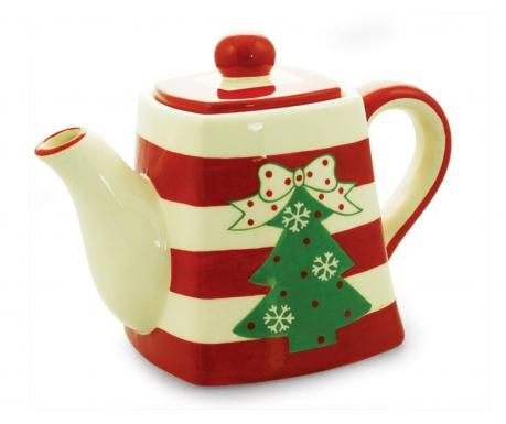 Christmas tree teapot ... decorated with bow-topped Christmas tree on red and white stripe body, ceramic