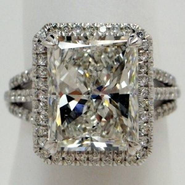 Antique Engagement Ring Rectangular Radiant Cut Triple Row Split Shank Styl