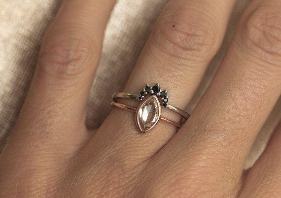 Black Diamond Crown Ring Black Diamond Wedding Band by MinimalVS