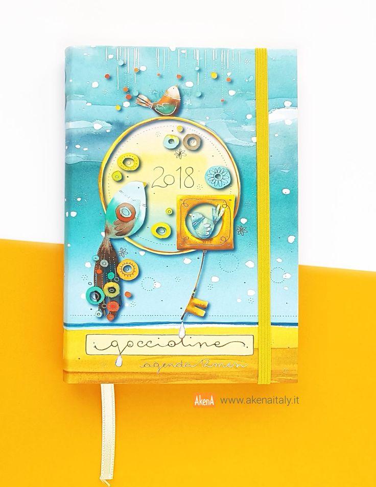 Agenda giornaliera 12 mesi 2018 Goccioline con copertina morbida azzurra decorata con dettagli in lamina d'argento
