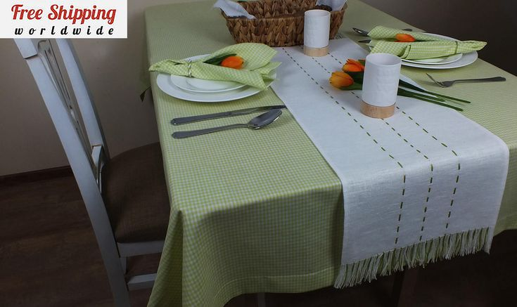 Gingham green natural linen tablecloth Country tablecloths Spring Easter tablecloth Oblong Square Picnic tablecloth Linen cloth table covers