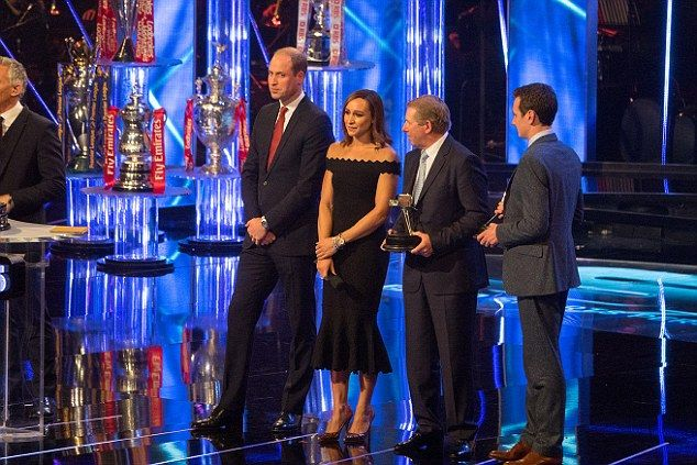 The Duke of Cambridge on stage at the Genting Arena with Jessica Ennis-Hill, show jumper N...
