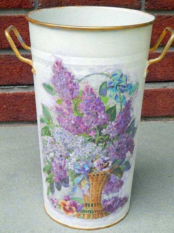 Decoupage Metal Vase. Handpainted Vase. Painted Vase. Lilacs.