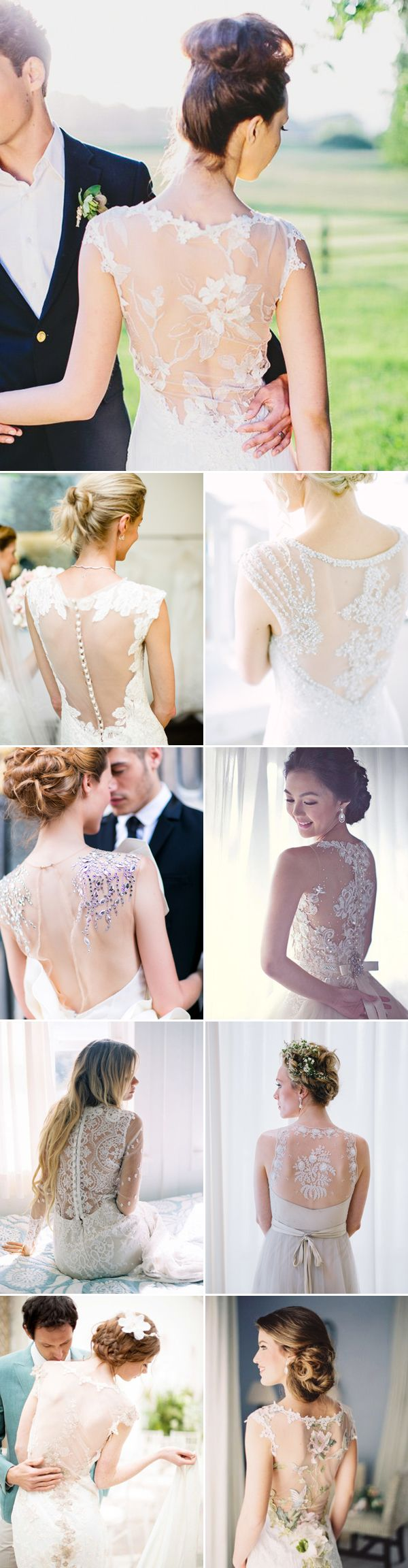 30 Gorgeous Real Brides' Illusion Gowns - Illusion Back
