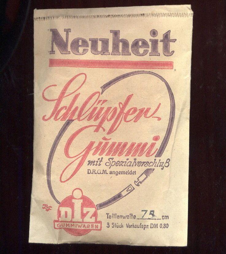 Volle Packung Schlüpfergummi NEUHEIT !!! von 1958 - Hersteller: DIZ-Gummiwaren