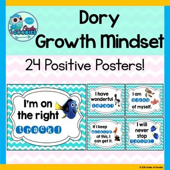 """Dory Growth Mindset Posters - 24 Posters This product includes 24 (8.5"""" x 11"""") Dory themed growth mindset posters!Growth mindsets are a positive thing for all of our students!-Keep on trying!-Never give up!-I will be proud of my work.-I can use other strategies to help me.*************************************************************************Customer Tips: How to get TPT credit to use on future purchases: Go to your My Purchases page."""