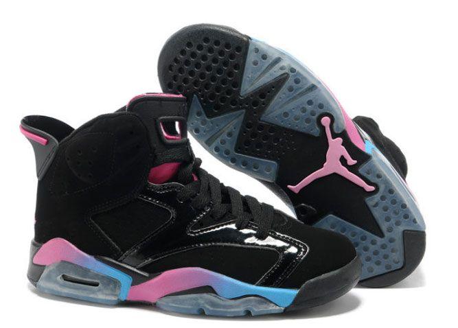 Women Air Jordan 6 Black Pink Blue