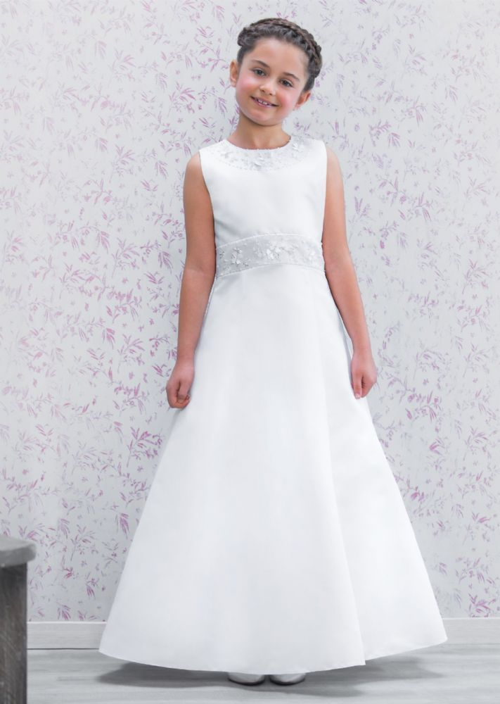 Girl's Communion Dress - Emmerling 70175 - NEW 2016 - Modern Full Length A line First Communion Dress - Age 7, 8, 9, 10 years - Girls 1st Holy Communion Dress - White Holy Communion Gown