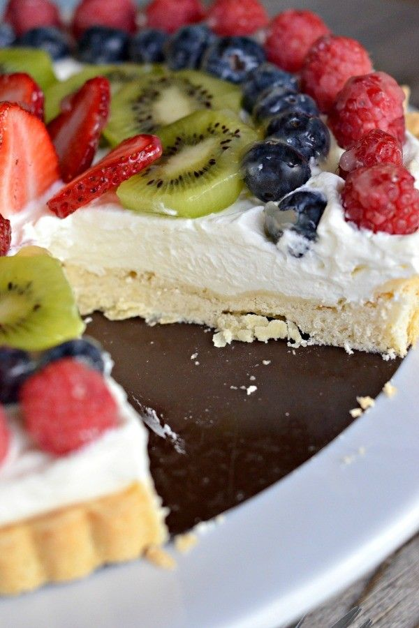 Fresh Fruit Tart with Creme Fraiche Whipped Cream from @mtnmamacooks