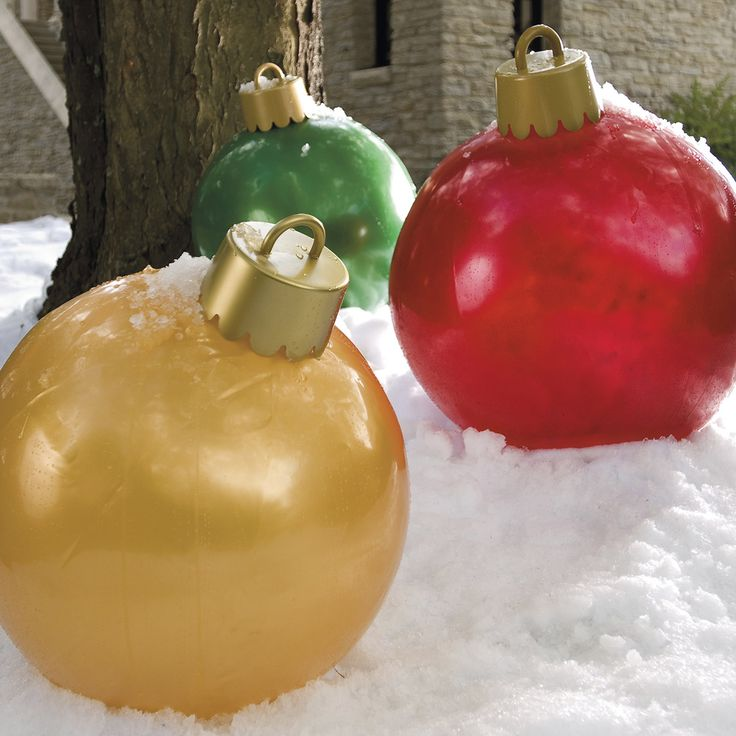 could use the yoga balls and spray paint to make giant ornaments Sour cream tubs for tops