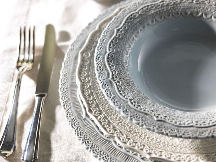 ELIOS ceramics, tableware available in cream and blue color. Representing By Tatjana Kern http://www.bytatjana.com/c19/Finezza