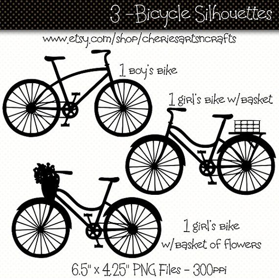 Bicycle Silhouettes Bicycle Clip Art Bike by CheriesArtsnCrafts, $3.75