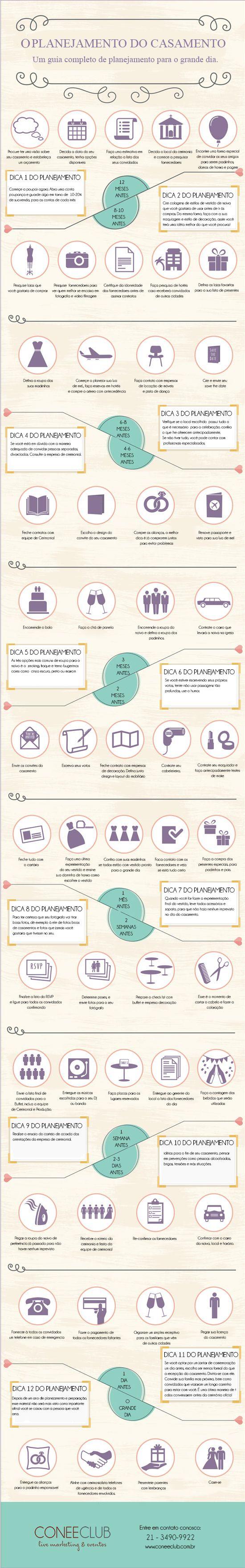 INFOGRÁFICO: Planejament Completo do seu Casamento. Baixe Grátis! http://materiais.coneeclub.com.br/infografico-planejando-seu-casamento