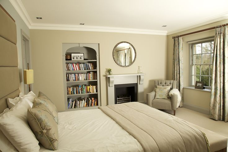 Serene Master Suite by Woodhouse & Law using Walcot House stained wood 50mm diameter curtain poles with mini disc finials