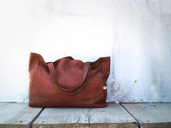 Chestnut Brown Leather Shopper / Leather Tote / by morelle on Etsy