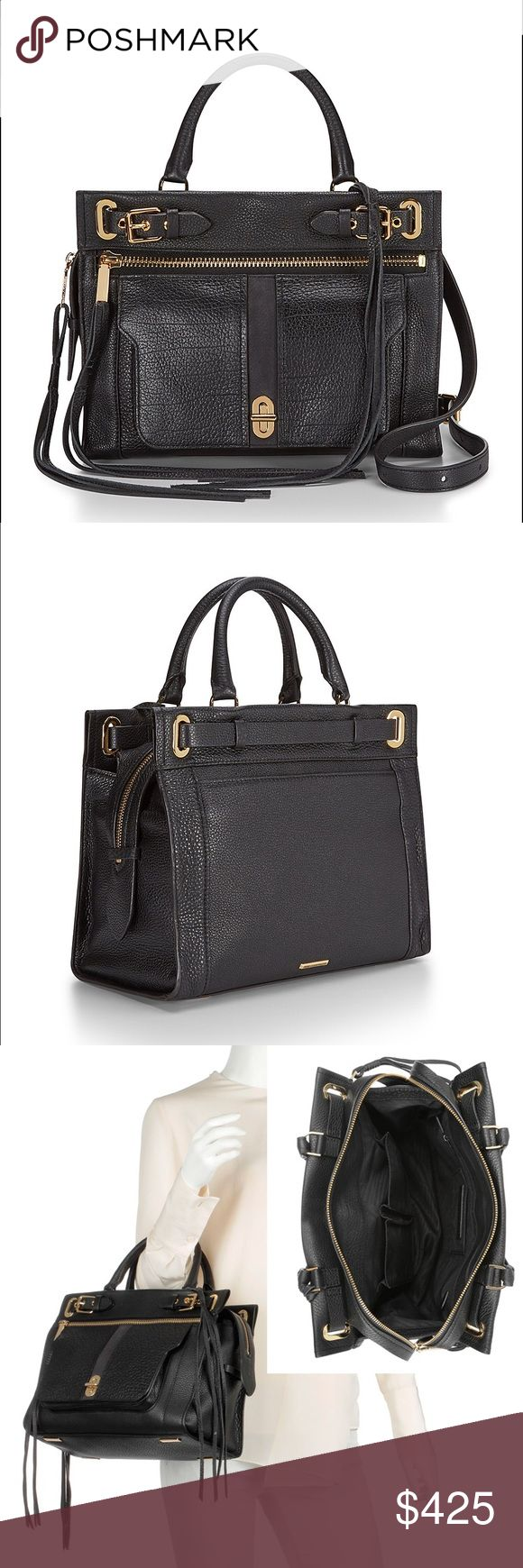 "Rebecca Minkoff Lyon Satchel - Black From web: Leather, zipper and belt details come together to form this career bag for rebel girls. The main compartment can hold iPad, wallet and pouches, while exterior pockets give you quick access to your essentials. Sling on your shoulder or carry by the top handles. 12""W x 9""H x 6""D. Genuine leather. 22"" adjustable shoulder strap. 4"" handle drop. Custom gold hardware. Exterior zip pocket, and slip compartment w/ turn lock closure. Top zip closure. 2…"
