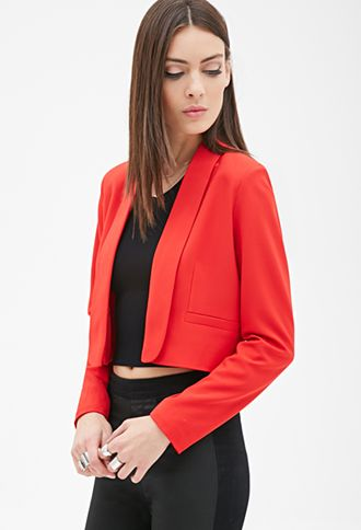 Red Crop Long Lapel Blazer Jacket | FOREVER21 - 2055879091 $30