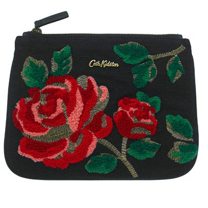 Ardingly Rose Embroidered Purse | Use this beautiful embroidered zip purse to keep your essentials with you this party season. In our Ardingly Rose printed leather, it has an inner slip pocket and makes for a fantastic clutch bag. | Cath Kidston |