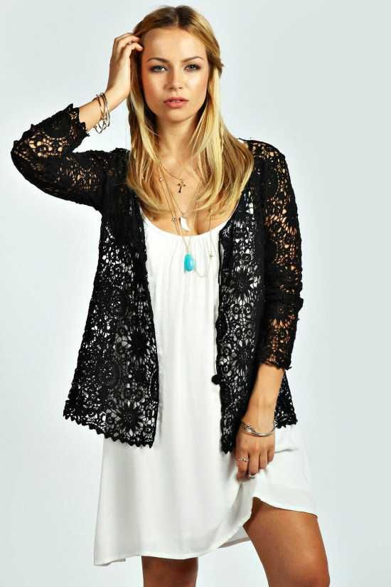 Tie Front Crochet Cardigan — $40.00 — Knitwear is a no-brainer whatever the season, Complete the look with a Skirt.